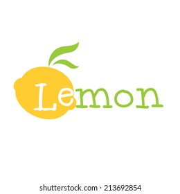 Abstract illustration yellow lemon lettering