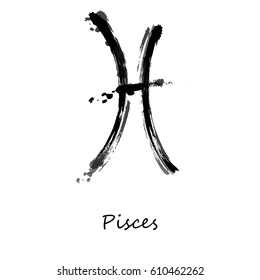 Abstract Illustration Of The Zodiac Sign Pisces Icon Astrology