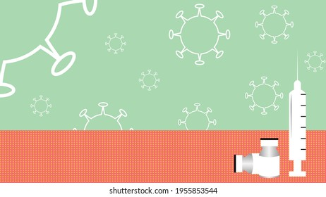 Abstract illustrations of corona virus and vacination,The white outline of coronavirus on light green bacckdrop, the white medical syling and two vaccine containers vials infront of background.
