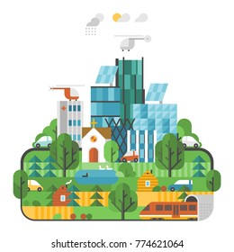 Abstract illustrations - Ecologically clean nature, the modern city. Transport. Renewable energy. Ecosystem info graphics