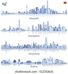 abstract illustrations of Shanghai, Hong Kong, Guangzhou and Beijing skylines in tints of blue with map and flag of China