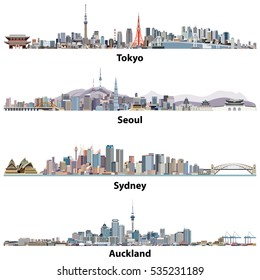 abstract illustrations of Tokyo, Seoul, Sydney and Auckland skylines.