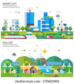 Abstract illustrations - Transport. Renewable energy. Ecosystem infographics