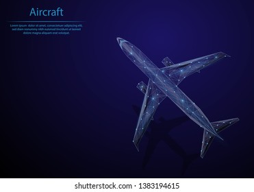 Abstract image aircraft in the form of a starry sky or space, consisting of points, lines, and shapes in the form of planets, stars and the universe. Low poly vector background.