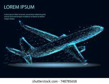Abstract image of a airliner in the form of a starry sky or space, consisting of points, lines, and shapes in the form of planets, stars and the universe. Vector business concept.