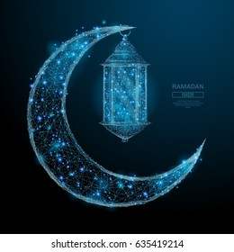 Abstract image of a Arabic Moon and lantern in the form of a starry sky or space, consisting of points, lines, and shapes in the form of planets, stars and the universe. Vector Ramadan Kareem concept