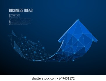 Abstract image of a arrow in the form of a starry sky or space, consisting of points, lines, and shapes in the form of planets, stars and the universe. Business arrow vector wireframe growth concept