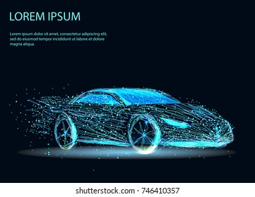 Abstract image of a auto in the form of a starry sky or space, consisting of points, lines, and shapes in the form of planets, stars and the universe. Vector business.