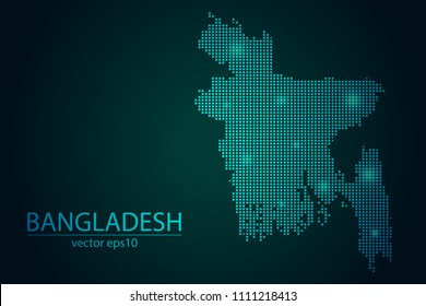 Abstract Image Bangladesh Map From Pixel Emerald Green and Glowing Stars on a Dark Background. Vector illustration Eps 10.