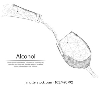 Abstract image bottle and wine glass in the form of lines and dots, consisting of triangles and geometric shapes. Low poly vector background.