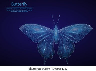 Abstract image Butterfly in the form of a starry sky or space, consisting of points, lines, and shapes in the form of planets, stars and the universe. Low poly vector background.