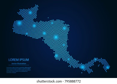 Abstract image Central America map from point blue and glowing stars on a dark background. vector illustration.