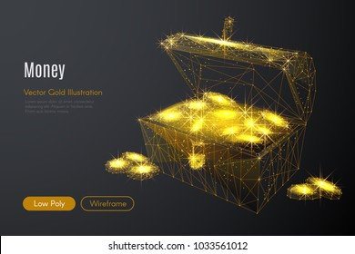 Abstract image of a chest of gold in the form of a starry sky or space, consisting of points, lines, and shapes in the form of planets, stars and the universe. Vector rich life wireframe concept.