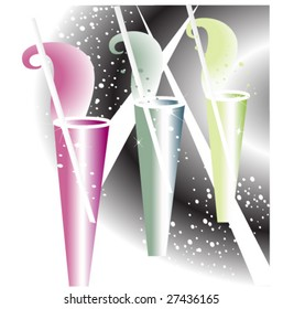 Abstract image of colored cocktail glasses (vector)