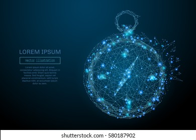Abstract image of a compass in the form of a starry sky or space, consisting of points, lines, and shapes in the form of planets, stars and the universe. Vector business wireframe concept.