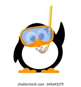 Abstract image of a cute penguin with a mask and snorkel. Cartoon style kid penguin on the beach. Symbol of vacations and summer holidays. Vector illustration