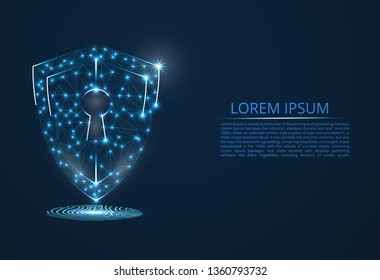Abstract image of cyber security concept. Illustrates the idea of cybersecurity or confidentiality of information in the form of lines and shapes, pieces of glass located on the fingerprint. Antivirus