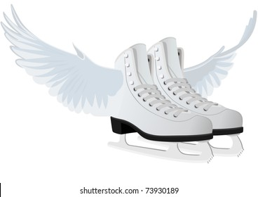 Abstract image of female skates for figure skating, with wings