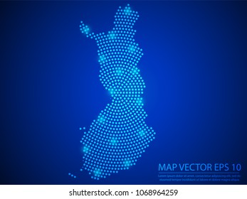 Abstract image Finland map from point blue and glowing stars on Blue background.Vector illustration eps 10.