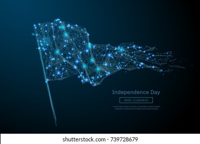Abstract image of a flag in the form of a starry sky or space, consisting of points, lines, and shapes in the form of planets, stars and the universe. Vector Independance Day concept.