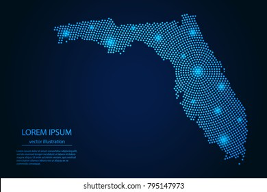Abstract image Florida map from point blue and glowing stars on a dark background. vector illustration.