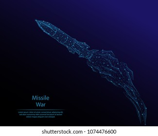 Abstract image of flying rocket in the form of a constellation. Consisting of lines and dots. Low poly vector.