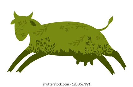 abstract image of a fun green cow