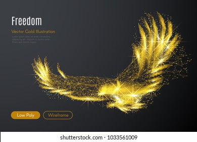 Abstract image of a gold eagle of a starry sky or space, consisting of points, lines, and shapes in the form of planets, stars and the universe. Vector high speed wireframe concept.