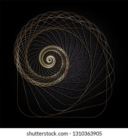 Abstract image of a Golden Nautilus on a black background. Vector.