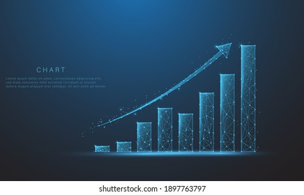 Abstract image of a growth chart in glowing blue. Low polygon, particle, and triangle style design.Wireframe light connection structure. Vector wireframe concept.