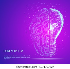 Abstract image of a half of light bulb and brain of a starry sky or space, consisting of points, lines, and shapes in the form of planets, stars and the universe. Vector business. Symbol of creativity