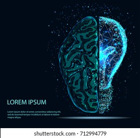 Abstract image of a half of light bulb and brain of a starry sky or space, consisting of points, lines. Vector business. Creative idea, mind, thinking.