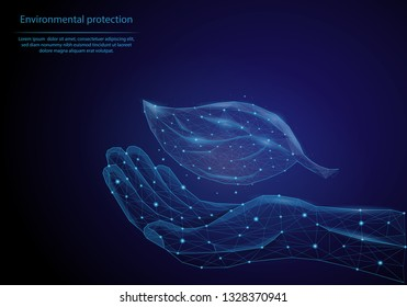 Abstract image hand with a leaf in the form of a starry sky or space, consisting of points, lines, and shapes in the form of planets. Low poly vector background.