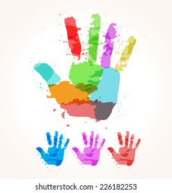 The abstract image of a hand of paint stains. Vector