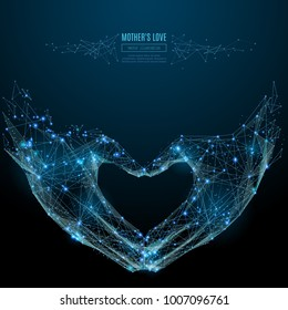 Abstract image of hand showing heart shape gesture in the form of a starry sky or space, consisting of points, lines, and shapes in the form of planets, stars and the universe. Vector LOVE sign.