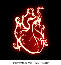 An abstract image of the heart with the help of neon contours, which is pierced by worms and bleeds.