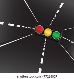 Abstract image of highways and traffic lights
