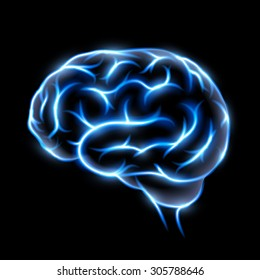 Abstract image of a human brain. Blue glow on black background. Stock vector image.