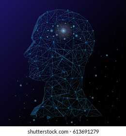 Abstract image of a human head and brain in the form of a starry sky and space. Consisting of points and lines.