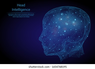 Abstract image human intelligence in the form of a starry sky or space, consisting of points, lines, and shapes in the form of planets, stars and the universe. 3D Low poly vector. Head. Neural cells.