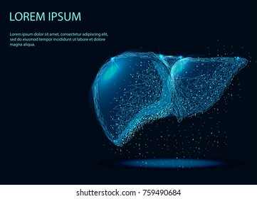 Abstract image of a Human Liver Internal Organ in the form of a starry sky or space, consisting of points, lines, and shapes in the form of planets, stars and the universe. Vector.