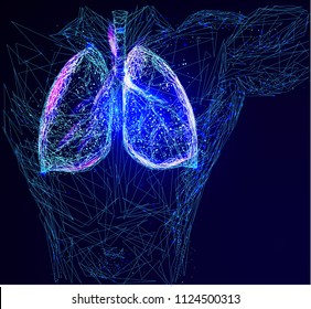 Abstract image of a human lungs in the form of a starry sky or space, consisting of points, lines, and shapes in the form of planets, stars and the universe. Vector
