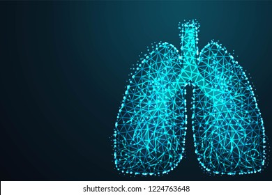 Abstract image of a human lungs in the form of a starry sky or space, Abstract 3d polygonal wireframe on blue night sky with dots and stars. illustration or background