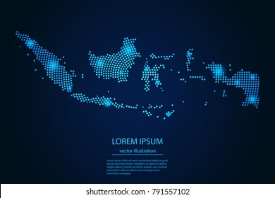 Abstract image Indonesia map from point blue and glowing stars on a dark background. vector illustration.
