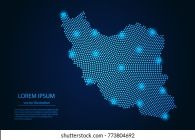 Abstract image Iran map from point blue and glowing stars on a dark background. vector illustration. Vector eps 10.
