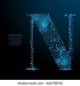 Abstract image of the letter N of a starry sky or space, consisting of points, lines, and shapes in the form of planets, stars and the universe. Vector business