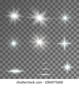 Abstract image of lighting flare. Set.