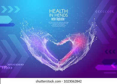 Abstract image Love shape hands in the form of a starry sky or space, consisting of points, lines, and shapes in the form of planets, stars and the universe. Vector wireframe concept. Blue purple