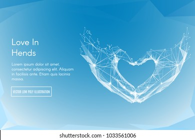 Abstract image of a Love shape hands in the form of a starry sky or space, consisting of points, lines, and shapes in the form of planets, stars and the universe. Vector Hand making sign Heart gesture