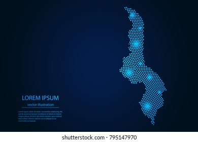 Abstract image Malawi map from point blue and glowing stars on a dark background. vector illustration.